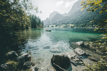 Famous lake Hintersee. Location resort Ramsau, National park Berchtesgadener Land, Upper Bavaria, Germany Alps, Europe.