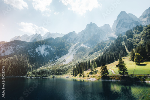 Wall mural Vorderer Gosausee lake. Salzkammergut is a famous resort area located in the Gosau Valley in Upper Austria.