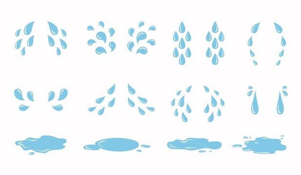 Cartoon tear drops and puddles set. Sorrow weeping cry streams, tear blob or sweat drop. eyes tears or rain droplets