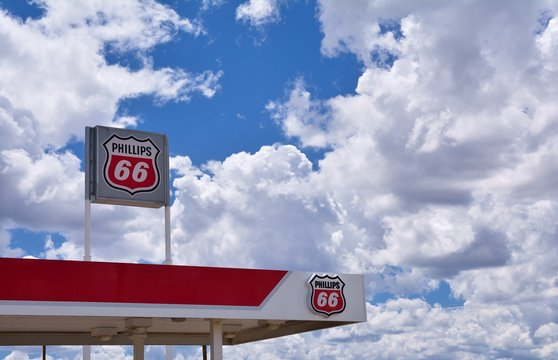 New Mexico, Usa - July 22, 2017: Phillips 66 gas station sign and logo. The Phillips 66 Company is an American multinational energy company.