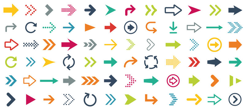 Arrow different icons set. Vector illustration