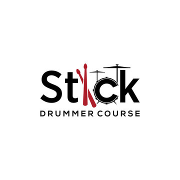 Illustration of abstract drum sign with a stick to hit it for the logo of the drum study course