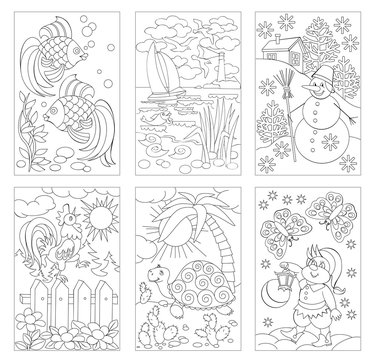 Set of black and white pages for baby coloring book. Drawings of nature, animals and fairy tales views. Printable worksheets for children. Development kids painting skills. Hand-drawn vector image.
