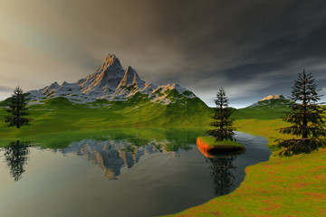 Mountain, an alpine landscape, snow on the peak, coniferous trees and reflection in the lake.