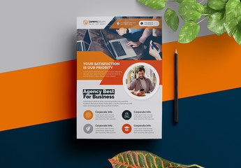 Corporate Flyer Layout with Orange Elements