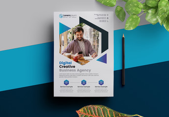 Corporate Flyer Layout with Blue Elements