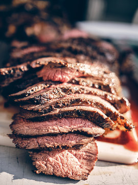 Grilled Picanha, sliced, cooked to medium low and slow