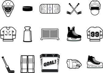 Black and White Hockey Vector Icon Set