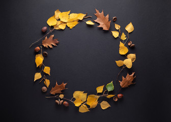 Autumn frame with fall foliage on black background