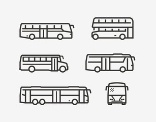 Bus icon set. Transport symbol in linear style. Vector illustration