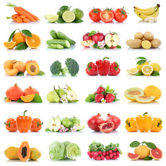Wall Mural - Fruits vegetables collection isolated apple apples oranges lettuce tomatoes colors fresh fruit