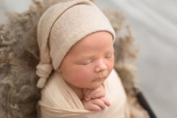 first photo shoot. newborn child. newborn boy