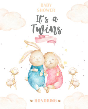 Cute watercolor Twins Bunny birthday greeting cards,posters for baby room, baby shower, invite, kids and baby t-shirts and wear. Hand drawn nursery illustration. Funny animal and cotton