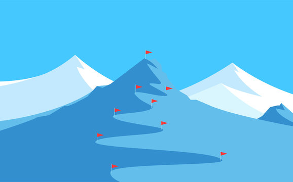 Landscape with Mountains for Skiing and Slalom - Banner with Copy Space at top, Vector illustration with scenic Panorama of Alpine Peak for winter Competitions.
