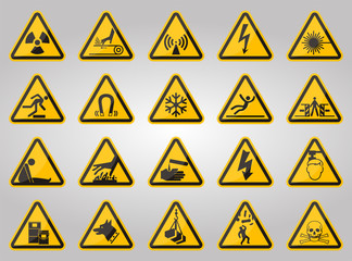 Triangular Warning Hazard Symbols labels On White Background