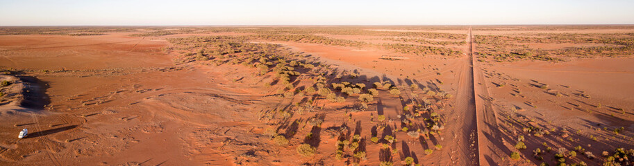 aerial view of sturt national park in the far west of New South Wales, Australia showing the famour dingo fence.