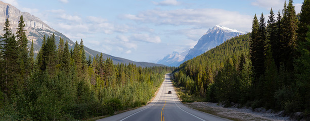 Aluminium Prints Canada Panoramic View of a Scenic road in the Canadian Rockies during a vibrant sunny and cloudy summer morning. Taken in Icefields Parkway, Banff National Park, Alberta, Canada.