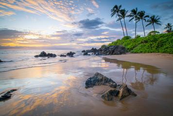 Sunset along a rocky south Maui coastline
