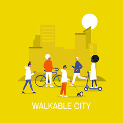 Walkable city. Diversity. Characters on bikes, electric scooters, walking and running young adults. Urban life. Urbanism. Flat editable vector illustration, clip art