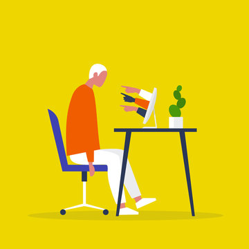 A victim of cyberbullying sitting at the computer. Pointing fingers of haters. Internet aggression. Modern life issues. Millennials. Flat editable vector illustration, clip art