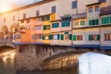 Scenic beautiful Ponte Vecchio bridge in Florence historic city center