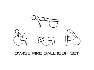Set of Swiss Pike Ball Workout Monochrome Icon in Fitness Center.Gym and Aerobic icon Template in Line Style.This Collection Consist of Four Vector Icon.Simple and Trendy Isolated on White Background.