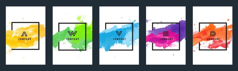 Obraz Watercolor background over square frame vector design headline, logo and sale banner template set - fototapety do salonu