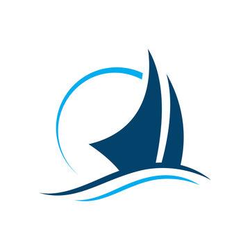 ship boat yacht sailing logo design vector illustrations