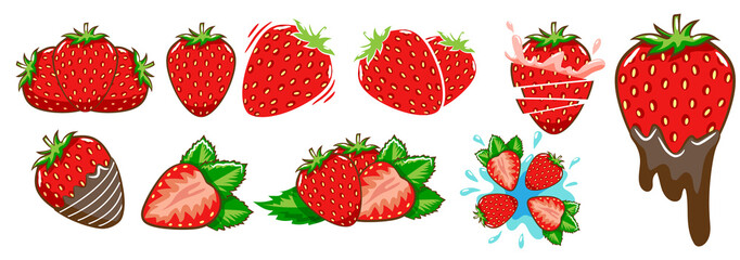 strawberry vector set clipart design