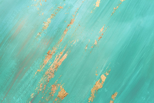 Brush abstract Strokes with gold spots potal. Mint green creative background for your design