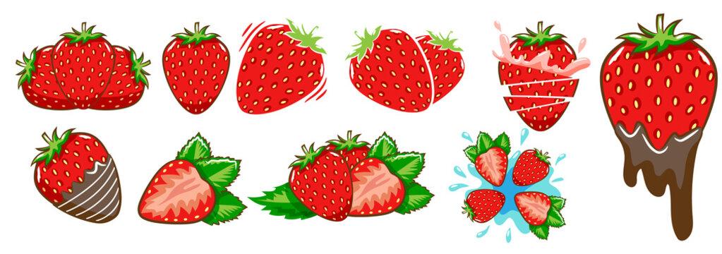strawberry vector set clipart design