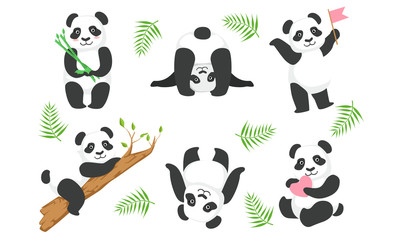Cute Pandas Characters Set, Adorable Animals in Different Situations, Lovely Chinese Symbol Mascot Vector Illustration