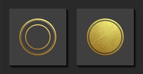 Vector illustration. Gold rubber stamp. Luxury golden vintage border.