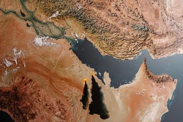 Aerial view of the Saudi Arabia Oil Crisis
