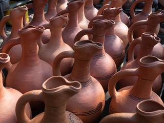 Many  earthenware jugs for wine are sold. Georgia