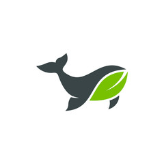 whale leaf logo design stock vector