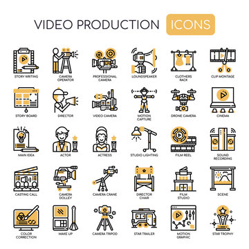Video Production , Thin Line and Pixel Perfect Icons