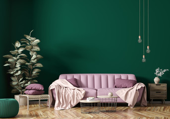 Interior of modern living room with pink sofa 3d rendering Wall mural