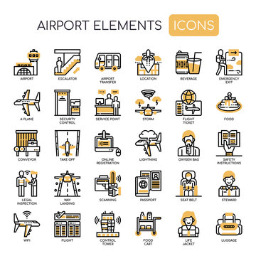 Airport Elements , Thin Line and Pixel Perfect Icons