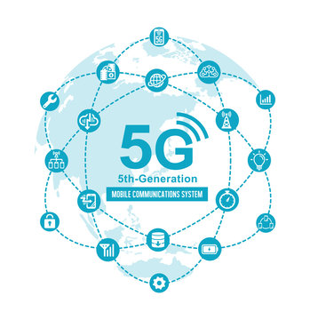 5G (5th-generation high-speed mobile communication system) flat vector  illustration
