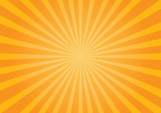 Yellow shiny starburst background. Vector illustration.