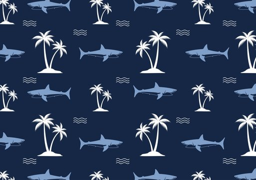 seamless shark pattern vector illustration.