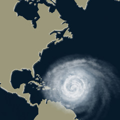 Weather illustration. Hurricane warning. Tropical storm.