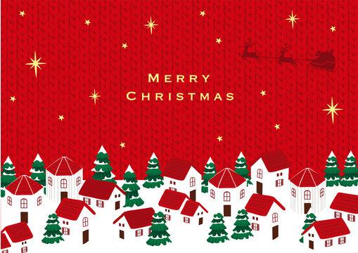 サンタクロースとクリスマスの町並み ニット背景
