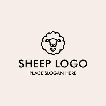 Line icon of sheep's head vector logo