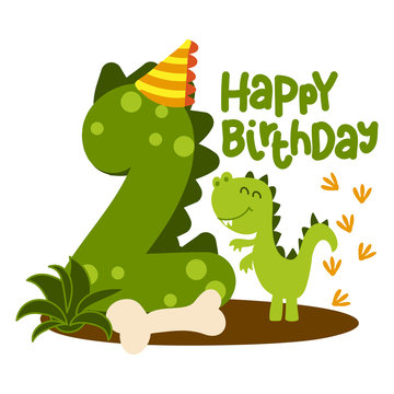 Happy 2st Birthday - Cute dinosaur alphabet doodle. Hand drawn vector cartoon set for kids. Good for textiles, clothes, bday gifts.