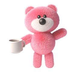 3d teddy bear cartoon character with pink soft fluffy fur drinking a cup of coffee or tea, 3d illustration