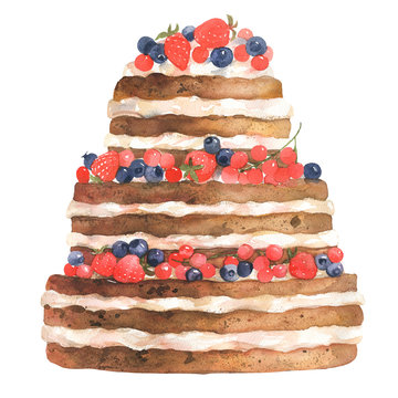 Wedding cake watercolor with strawberries and blueberries