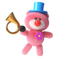 3d pink teddy bear with soft fluffy fur dressed as a clown with a red nose and old car horn, 3d illustration