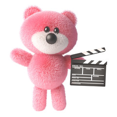 3d pink teddy bear with fluffy fur holding a movie slate clapperboard, 3d illustration